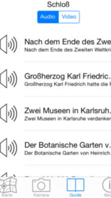 Bildschirminhalt Audio Guide